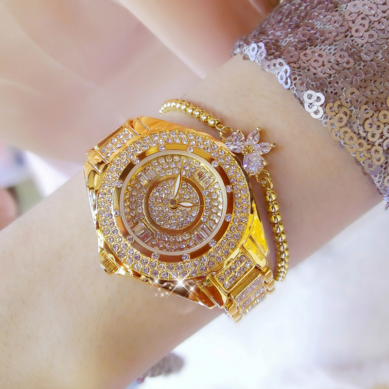 2018 Gold Watch Women Luxury Brand Relogio Ladies Quartz Watch Gifts For Girls Stainless Steel Rhinestone Wrist Watches