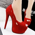 2016 Mulheres Da Moda Peep Toe Extremas sapatos de Salto Alto Sapatos de Plataforma de Altura 15 Cm Bombas Sexy Boate Festa À Noite Bombas SMYDS-10075