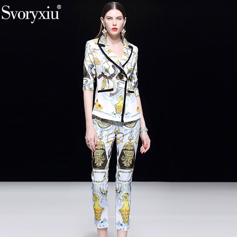 Svoryxiu projektant mody jesień Blazers dwuczęściowy zestaw kobiet 3/4 z długim rękawem Slim płaszcz + spodnie o długości do kostek spodnie drukowane kariery zestaw w Zestawy damskie od Odzież damska na  Grupa 3