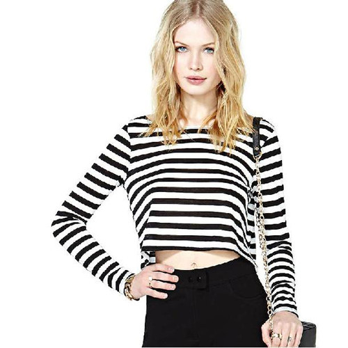 c51d337a702 Black and White Striped Crop Top Women's Clothing New2014Fashion American  Apparel Plus Size Long Sleeve O-Neck Loose TopsC1TD365