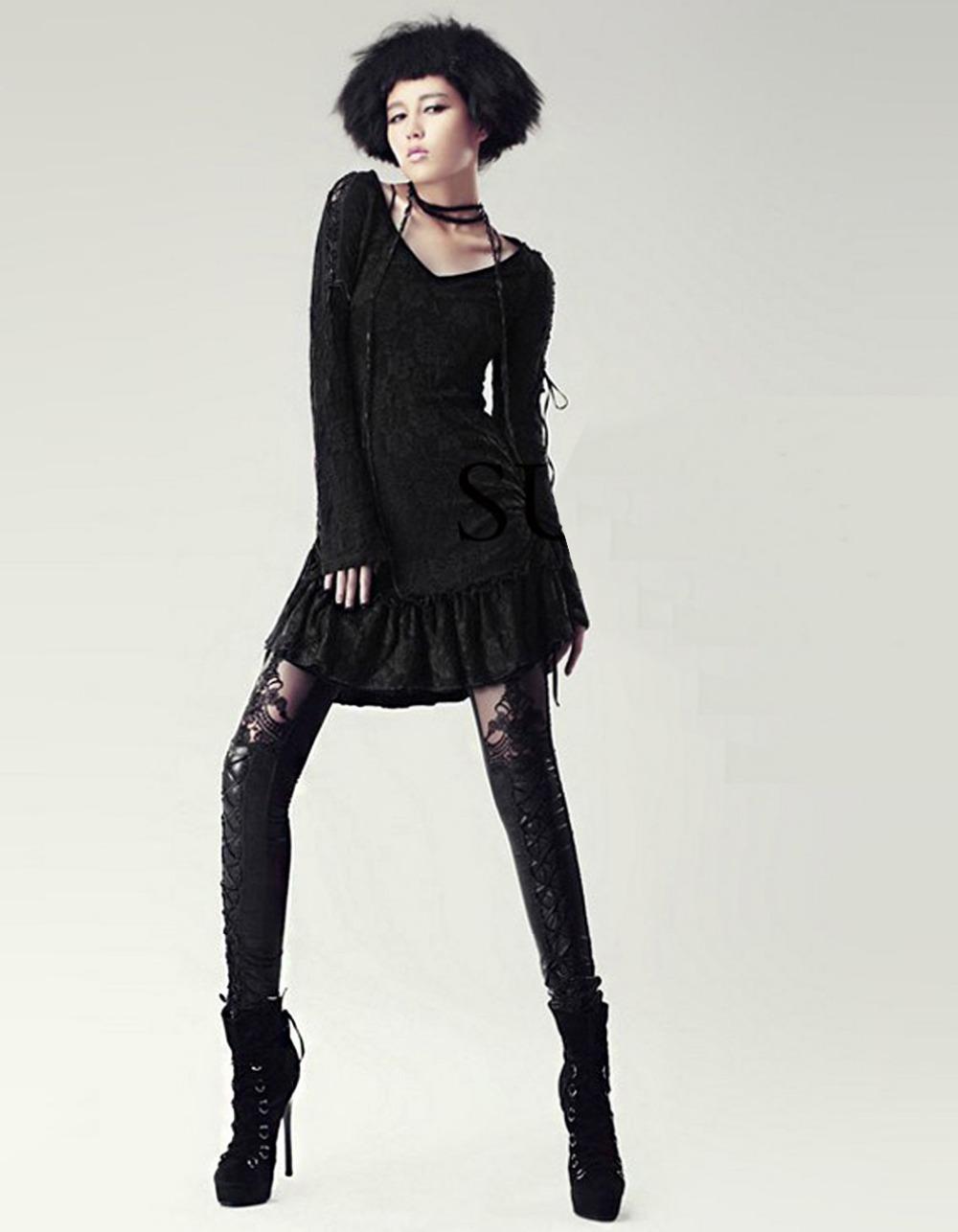 Black Legins Punk Gothic Fashion Women Leggings Sexy PU Leather Stitching Embroidery Hollow Lace Legging For Women Leggins 15 10