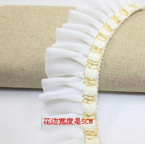 4yards/pack 2inch white/black chiffion cloth and gold thread decoration lace ruffled trims diy decoration accessary Z018