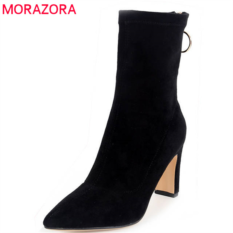 MORAZORA 2018 new arrival boots women cow suede Genuine ankle boots short plush autumn winter ladies boots high heels shoes morazora new china s style knee high boots flowers embroidery spring autumn boots for women zipper cow suede med heels boots