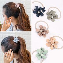 Womens Girls Sweety Three Floral Scrunchy Elastic Hair Bands Flower Rubber Bands Hair Rings Ropes Accessories Ornaments(China)