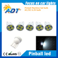 Non flicking 200pcs W5W Wedge 4*3528SMD AC 6.3V Pinball led For Sega Pinball Game Machine
