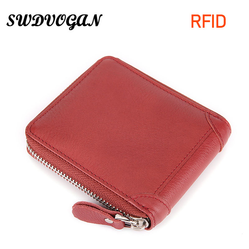 2018 Wallet Female Coins Genuine Leather Small Women Wallets Vintage Leather Wallet Women Coin Purse Card Holder RFID Carteira
