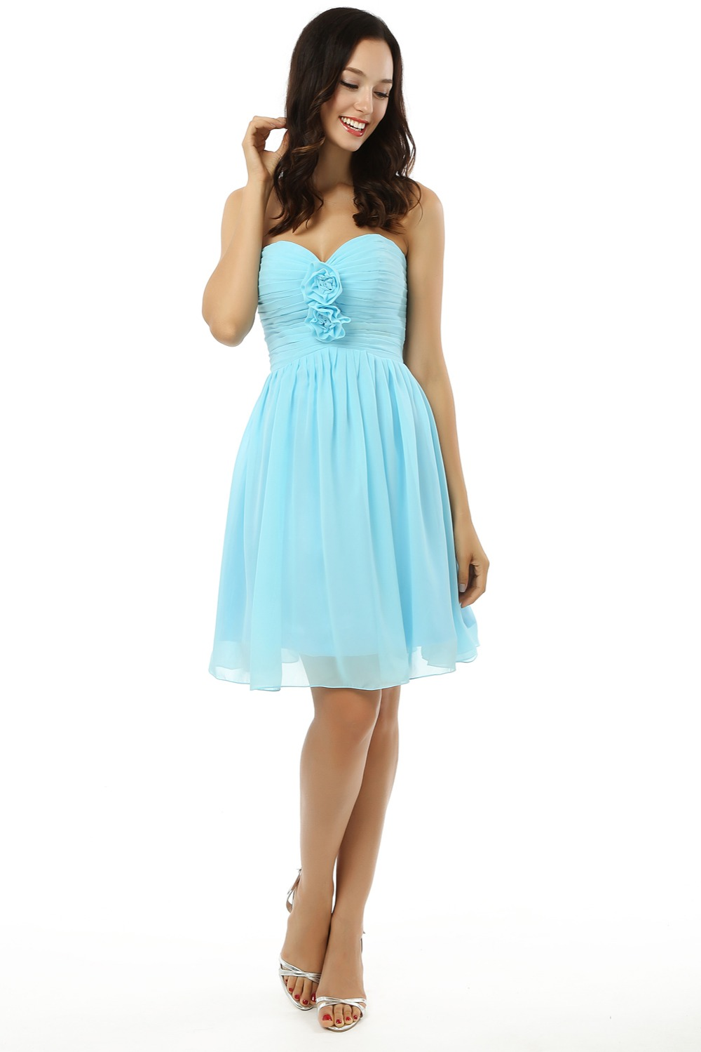 Aliexpress buy backless 2018 cheap bridesmaid dresses under aliexpress buy backless 2018 cheap bridesmaid dresses under 50 a line sweetheart short mini chiffon turquoise flowers wedding party dresses from ombrellifo Images