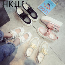 HKJL 2019 spring new Korean version of the single shoes casual round head thick bottom cake comfortable A597