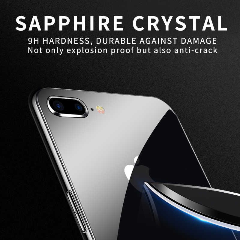 7bd85da8970 ... Funda de cristal de lujo iHaitun 8 para iPhone 7 Plus carcasa trasera  transparente Ultra fina ...