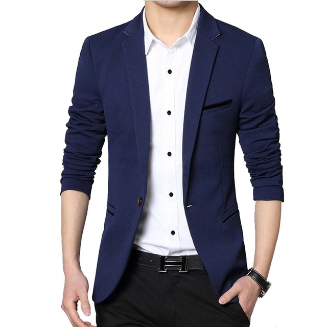 Men Casual Suit Business Style Fashion Design Men's Long Sleeve ...