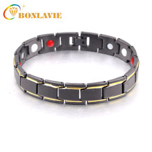 2018 Hot Sale Trendy Gold Black Color Wristband Charm Bracelet Men Copper Magnetic Bracelets Bangles Fashion Jewelry For Male(China)