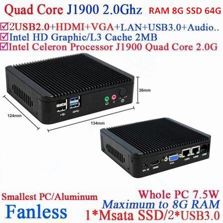 Низкая мощность медленного нагрева низкое напряжение памяти сборки компьютера J1900 8G Оперативная память 64G SSD win7 тонкий клиент