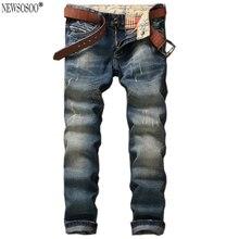 Newsosoo Бренд мужские прямые slim fit джинсы Брюки высокое качество мода ретро Синий Pantacourt Homme Марка Джинсы MJ42