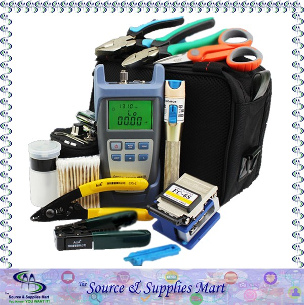 FTTH Tools with FC-6S Fiber Cleaver and Optical Power Meter Visual Fault Locator 1mw and Cable Strippers