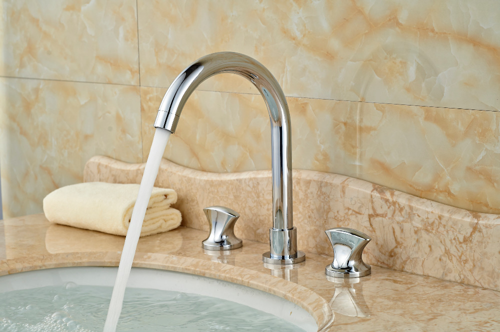 Widespread Chrome Brass Bathroom Basin Faucet Double Handles Vanity Sink Mixer Tap antique brass widespread bathroom faucet 3pcs 8 sink mixer tap dual handles