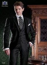 New Design Two Button Black Groom Tuxedos Groomsmen Men's Wedding Prom Suits Bridegroom (Jacket+Pants+Vest+Tie) K:892