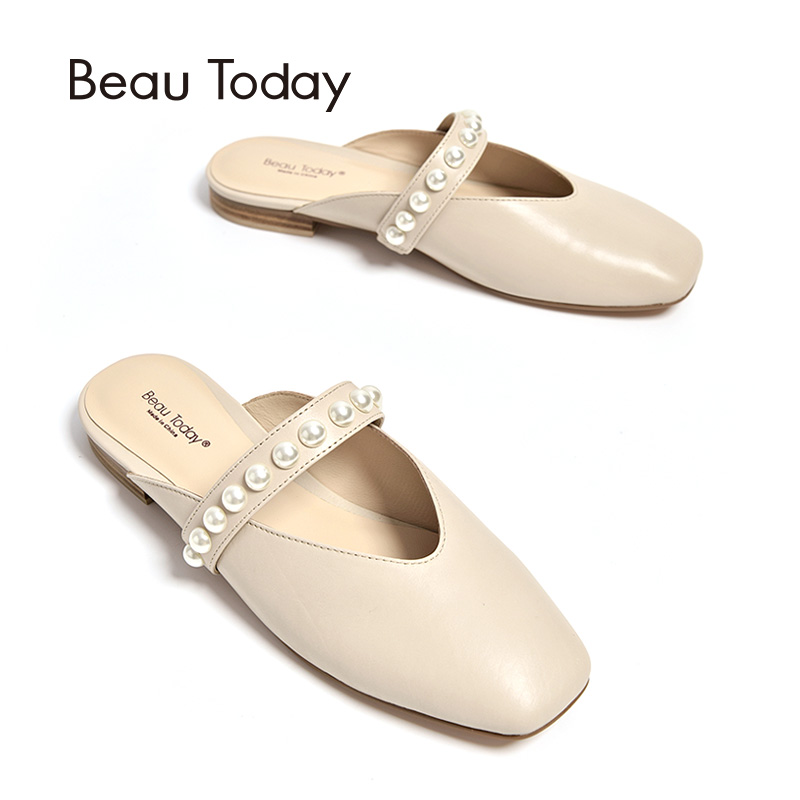 BeauToday Pearls Mules Women Shoes Square Toe Good Quality Genuine Calfskin Leather Strap Female Party Flats Handmade 36047