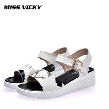 MISS VICKY 2019 new summer ladies sandals leather soft flat womens shoes