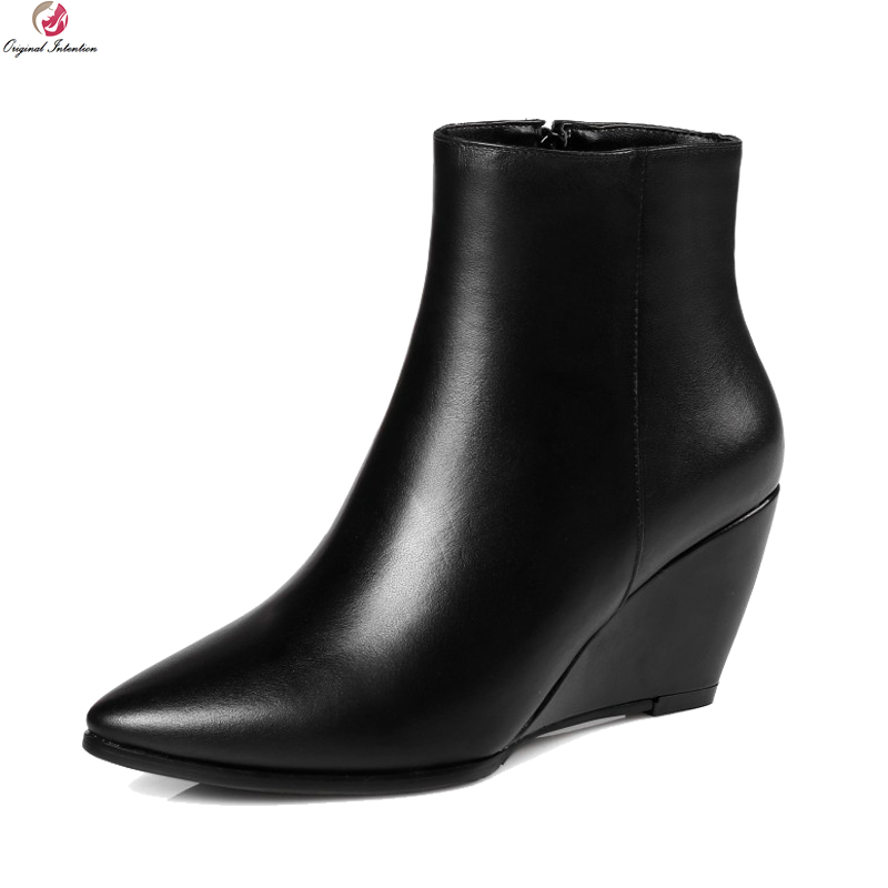 Original Intention New Fashion Women Boots Real Leather Pointed Toe Wedges Boots Popular Black Shoes Woman Plus US Size 3-13 women in the summer of 2018 the new patent leather nude wedges pointed toe pump work shoes leisure women plus size 35 40 a23