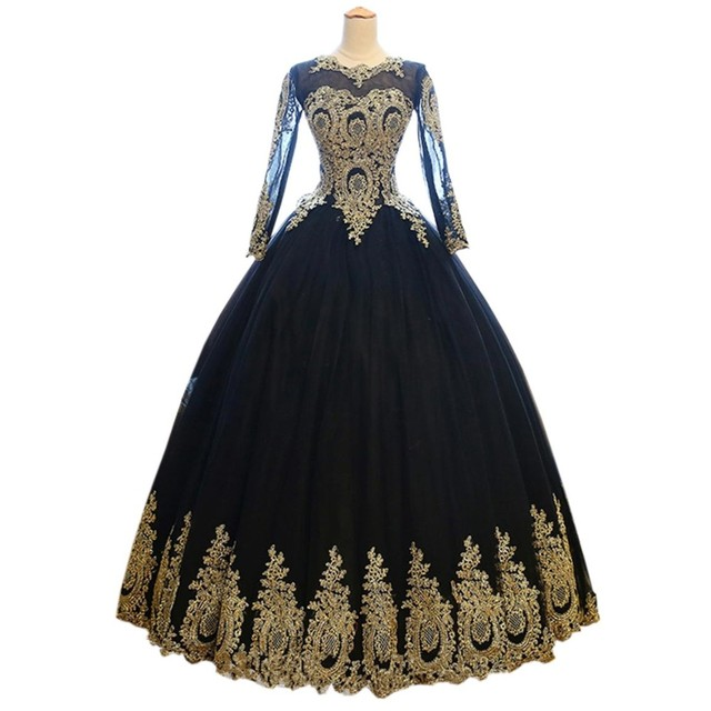 Sexy Black Gold Ball Gown Long Sleeve Prom Evening Dresses Cheap ...
