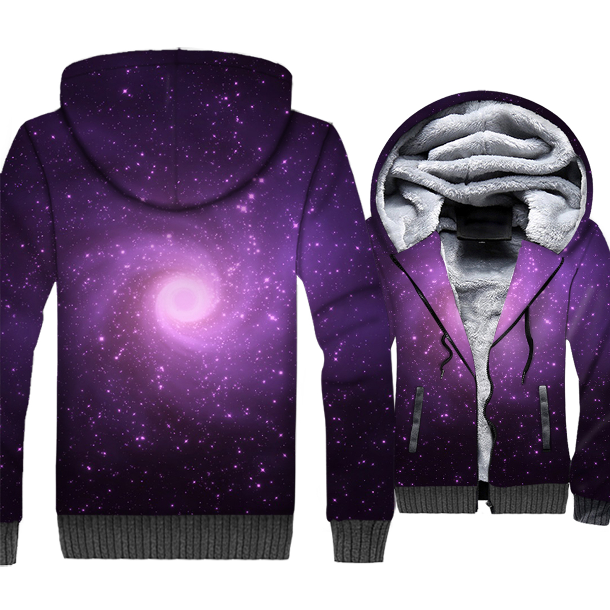 Space Galaxy 3D Print Hoodie Men Colorful Nebula Hooded Sweatshirt Harajuku Coat Winter Thick Fleece Warm Paisley Nebula Jacket