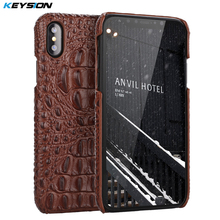 KEYSION Crocodile Pattern Genuine Leather Case for iPhone X