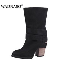 WADNASO Suede Winter Rubber Women Boots Casual Solid Creepers Shoes Woman Slip On Fashion High Heels Eu 34-43 black