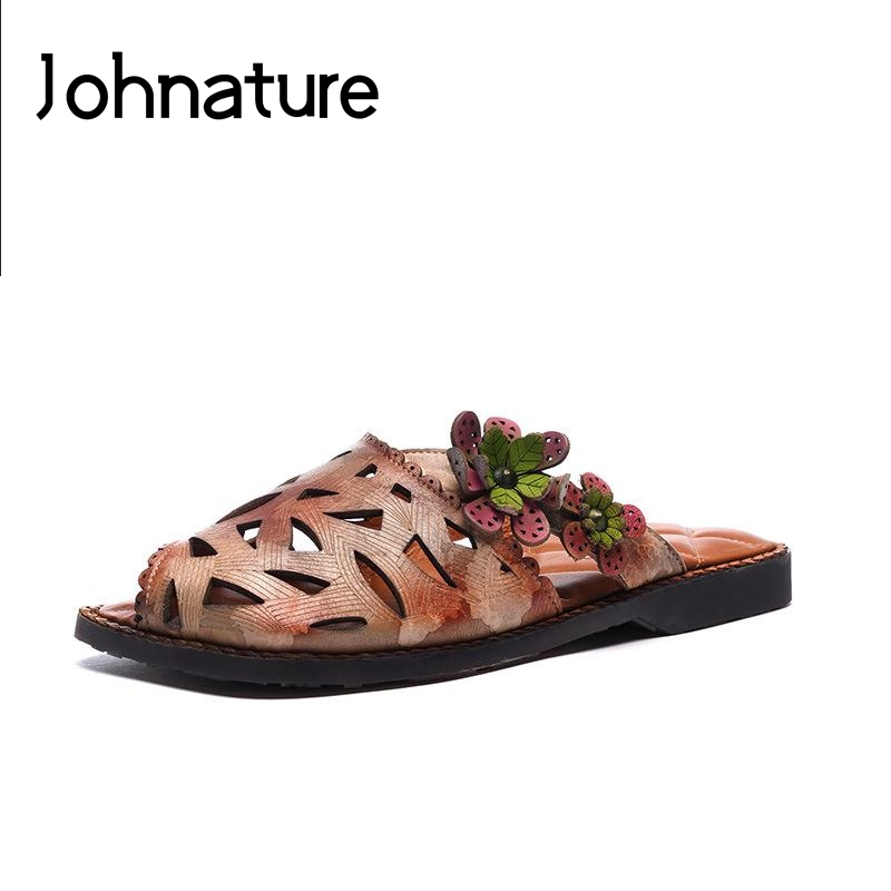 Johnature Genuine Leather Floral 2019 New Summer Slippers Outside Sewing Slides Flat With Hollow Rivet Sandals Women ShoesJohnature Genuine Leather Floral 2019 New Summer Slippers Outside Sewing Slides Flat With Hollow Rivet Sandals Women Shoes
