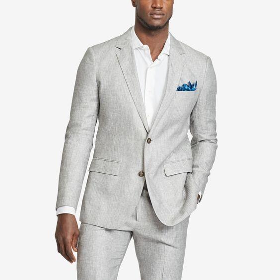 Vestito Uomo Matrimonio Lino : Custom made luce lino grigio sposo smoking groomsman uomo pezzi