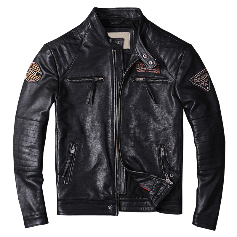 Jacket Real-Leather Coat Motorcycle Embroidered Luxury Cow Retro Locomotive Men