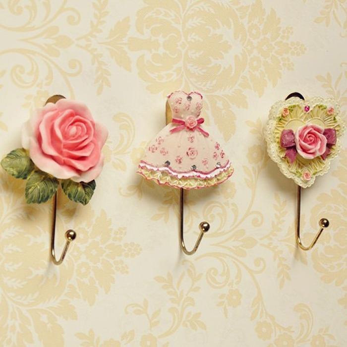 Retro Wall Mounted Resin Flower Dress Heart Coat Robe Hanging Hook Home Door Clothes Hanger
