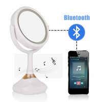 Makeup Lamp Mirror Bluetooth Speaker LED Touch Screen Beauty 1X/5X Magnifying Luminous USB Rechargeable Cosmetic Vanity Tabletop
