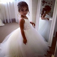 Ball Gown Flower Girl Party Dresses 2018 White Long Puffy Pageant Prom Dresses Kids Evening Gowns Spaghetti Straps for Wedding