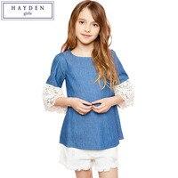 HAYDEN Kids Girls Cotton Blouse 2017 Spring Summer New Brand Designer Lace Girl Blouse Crochet Sleeve O Neck Blouses for Teens