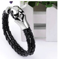 316L Stainless Steel Leather Bracelet Skull Weave Jewelry Free Shipping Wholesale