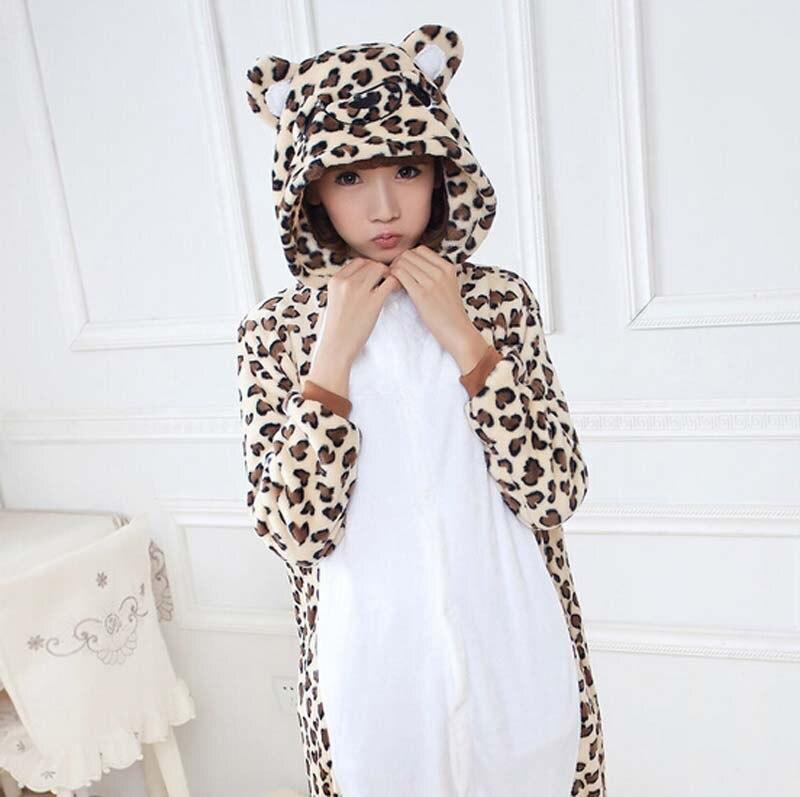 Модные леопардовые Медведь животных фланелевые пижамы Одна деталь костюм пижамы унисекс  ...