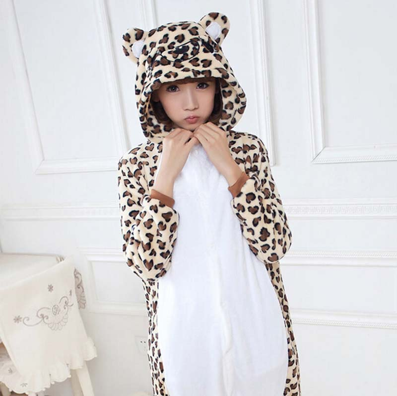 Fashion Leopard Bear Animal Flannel Pajamas One Piece Costume Sleepwear Unisex For Adult ...