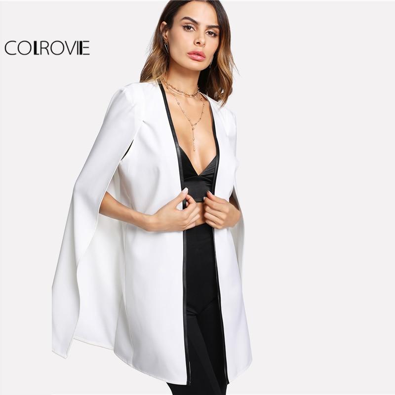 COLROVIE 2017 Contrast Binding Open Front Cape Long Sleeve Blazer White Cloak Sleeve Longline Plain Outer Women Elegant Blazer