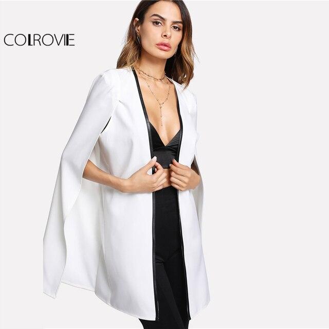 COLROVIE Contrast Binding Open Front Cape Long Sleeve Blazer White Cloak  Sleeve Longline Plain Outer Women Elegant Blazer a19a5f094485
