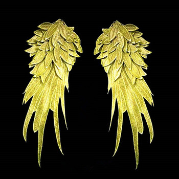 195895a59 Elegante oro Ángel bordado hombro parche decoraciones Venise Lace Applique  DIY Halloween traje apliques