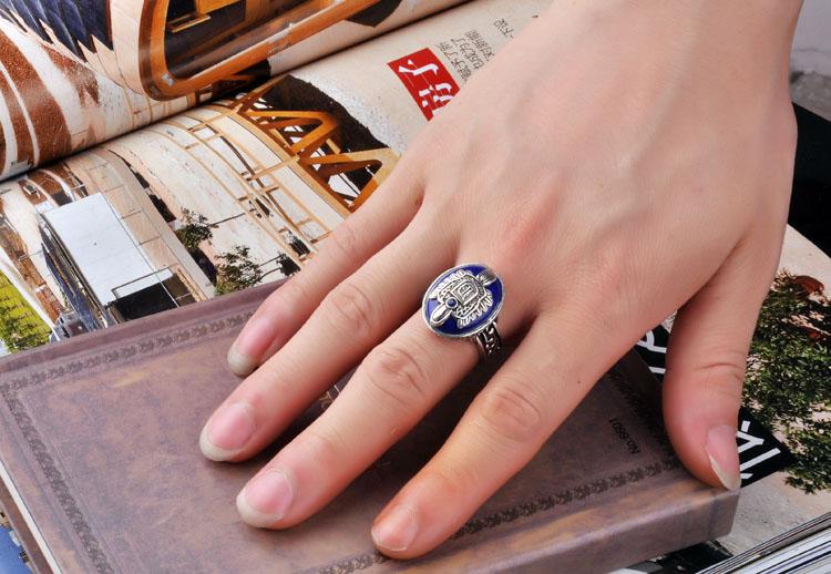 Les carnets de Vampire anneaux Damon et Stefan avec Lapis Lazuli bague en pierre Salvatore Elena Caroline Klaus bague hommes femmes bijoux - 3