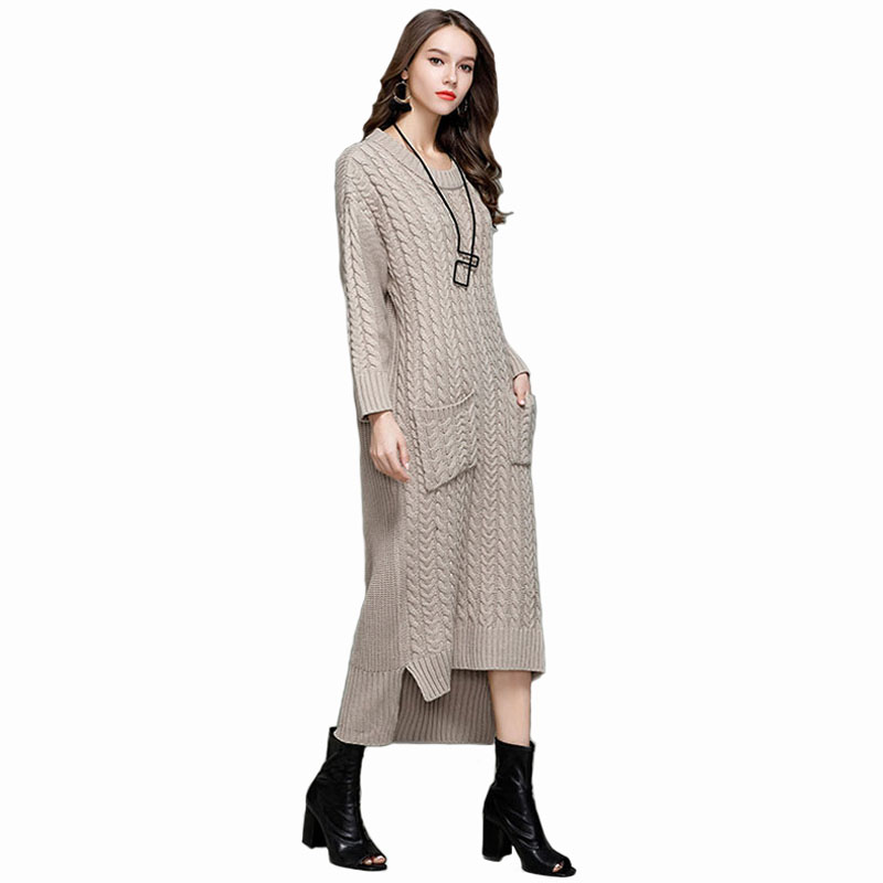 Winter long dress 2018 Women Elegant Vintage Warm Dresses Ladies Long Sleeve gray brown and wine red Casual Knitted Dress YH7138