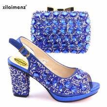 cb401d7b4 2019 Nova Cor Azul Mulheres sapatos com sacos de harmonização de Casamento  da noiva De salto