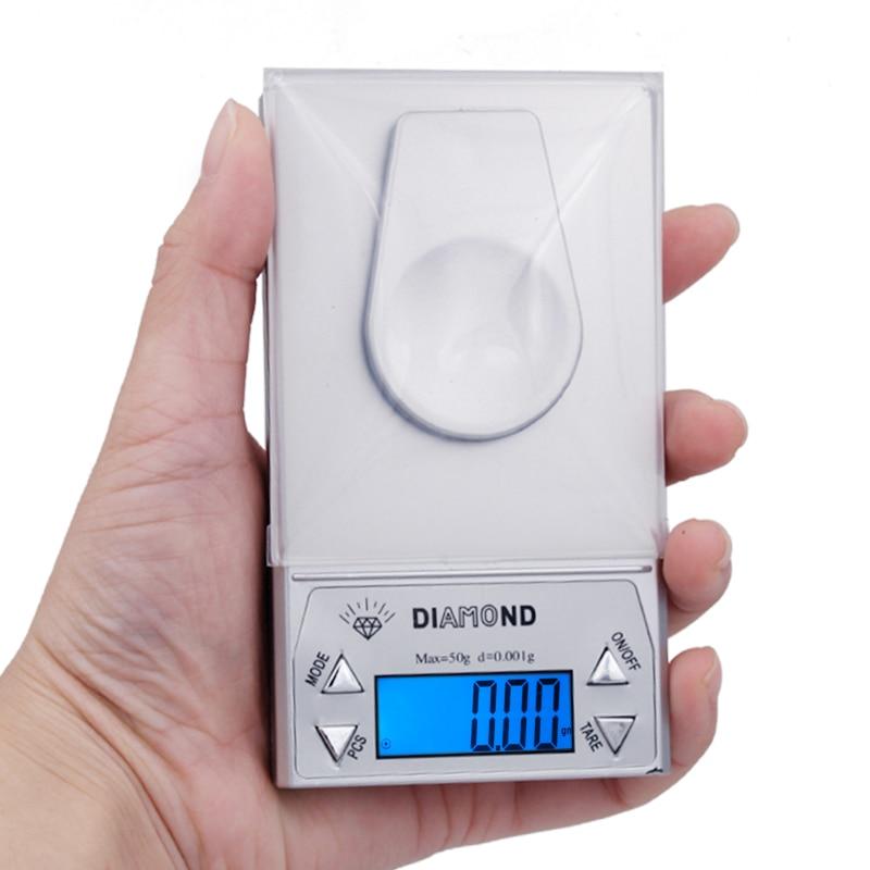 9fd071d849 5 pcs 50g 0.001g Escala Jóias Digital erva diamante Equilíbrio de Peso  pesando display LCD com luz de fundo