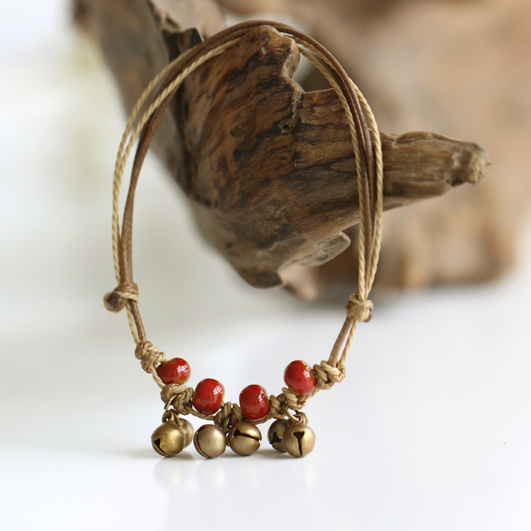 Chinese Style Ceramic Anklets Bead Glaze Multi- Colored Female Bell Handmade National Style Trend Vintage Jewelry for Women