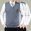 New Arrival Autumn Men's V-neck Wool/Cashmere Blended Jacquard Sweater Vest