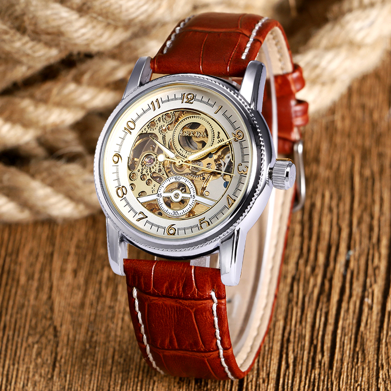 Brown Black Luxury Genuine Leather Strap Skeleton Sport Analog Men Women Mechanical Automatic Wrist Watch relogio