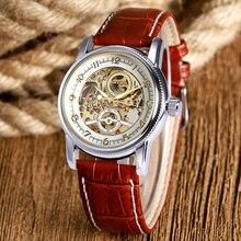 Brown/Black Luxury Genuine Leather Strap Skeleton Sport  Analog Men Women Mechanical Automatic Wrist Watch relogio masculino