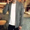 Мужской Свитер осень Новый Slim Fit sweatershirt Мужчины кардиган Длинный Простой Turn Down Воротник Случайные Свитер мужской XXXL 3 цвета
