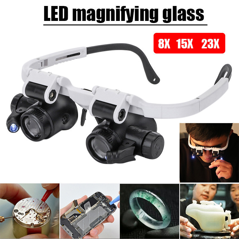 9892H 1 Head Mounted 8X 23X LED Magnifier Double Eye Glasses Loupe Lens Jeweler Watch Repair Measurement With LED Lamp Magnifiers     - title=